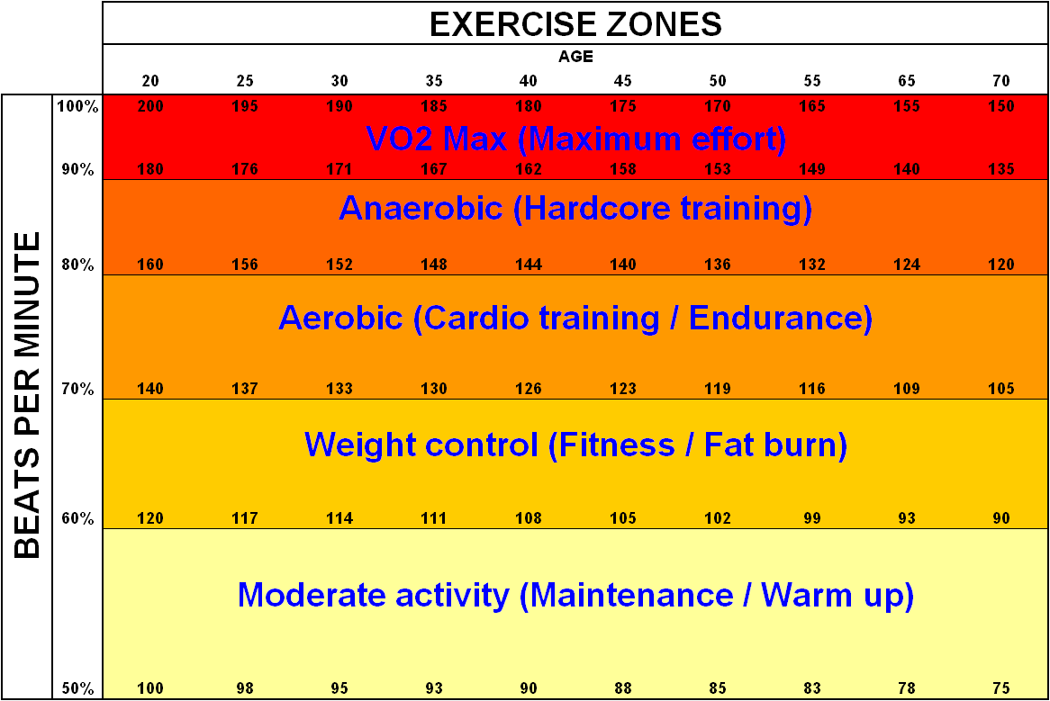 Exercise zones VO2 Max
