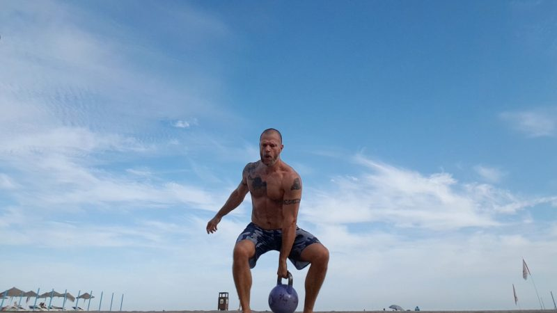 kettlebell beach workout hang clean 9