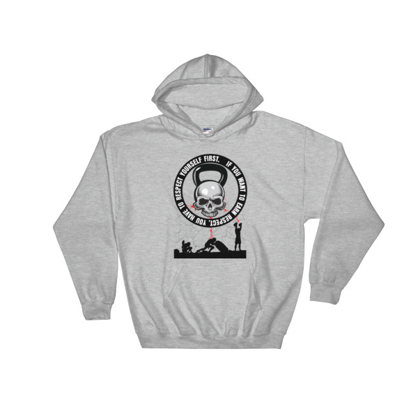 Hooded sweatshirt with Cavemantraining skull