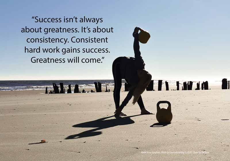 """Success isn't always about greatness. It's about consistency. Consistent hard work gains success. Greatness will come."""