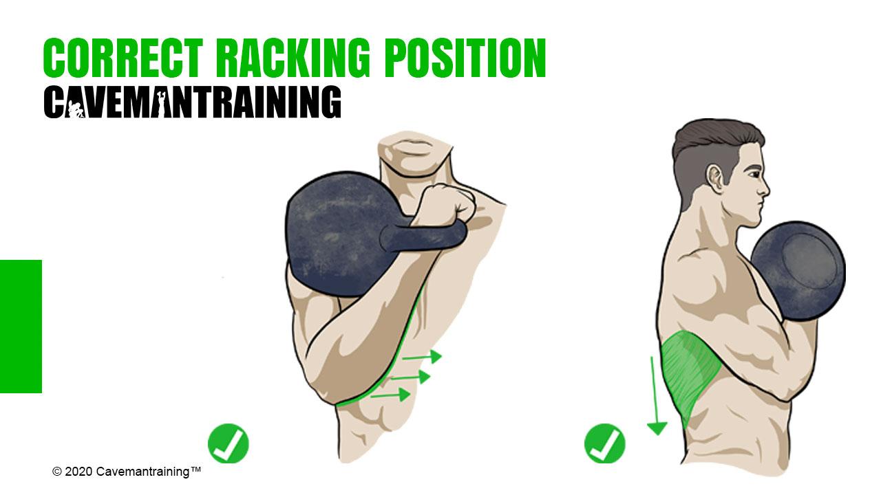 Correct kettlebell rack position