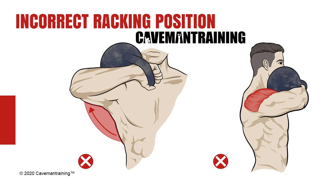 Incorrect kettlebell rack position